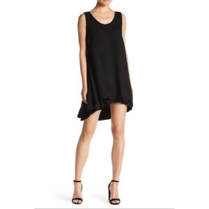 BB Dakota Cute Black Layered Henley Dress Mini